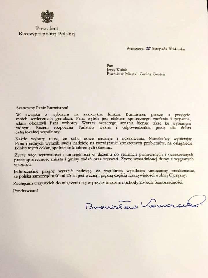 Sztampowe gratulacja od Komorowskiego